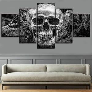 Pintura em tela moderna decoração da arte da parede quadro modular poster 5 painel abstrato crânio fotos decoração para casa quarto