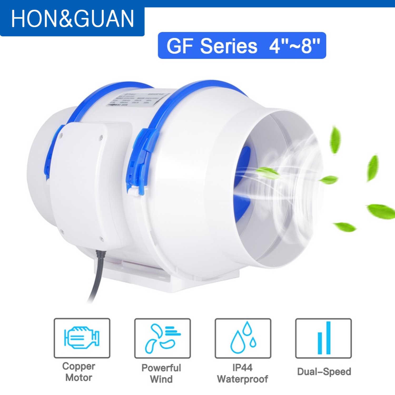 hon guan 4 5 6 8 silent inline duct fan 220v 110v air extractor exhaust ventilation for home bathroom kitchen ventilator