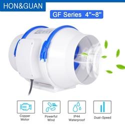 Hon&Guan 4 5 6 8 inch Home Silent Inline Duct Fan Strong Ventilation 110V 220V Extractor Fan Kitchen Air Clean Fans Bathroom Fan
