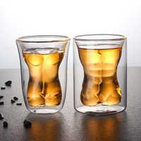 Vasos de pared doble Sexy, copa de vidrio para cóctel, 250ml, transparente, Calavera, Bar, whisky, Vodka, taza de cerveza
