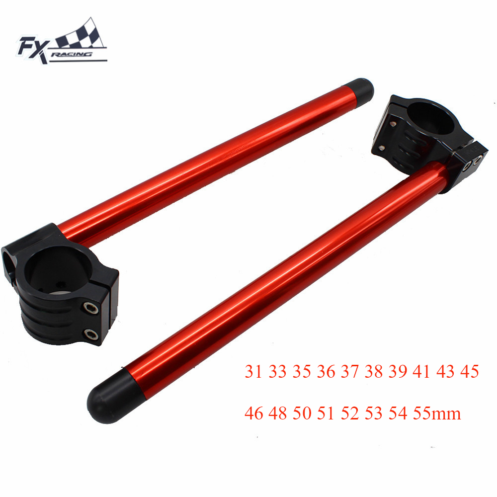 RED CNC Motorcycle Clip On Ones Clipon 31 33 35 36 37 38 39 41 43 45 46 48 50 51 52 53 54 55mm Handlebar Fork Clamp Handle Bar