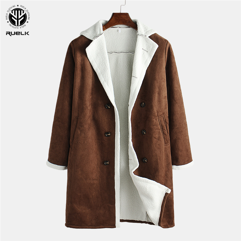 RUELK Europe And America 2020 Spring And Autumn New Fleece Composite Classic Solid Color Coat Men's Warm Jacket Men's Clothing