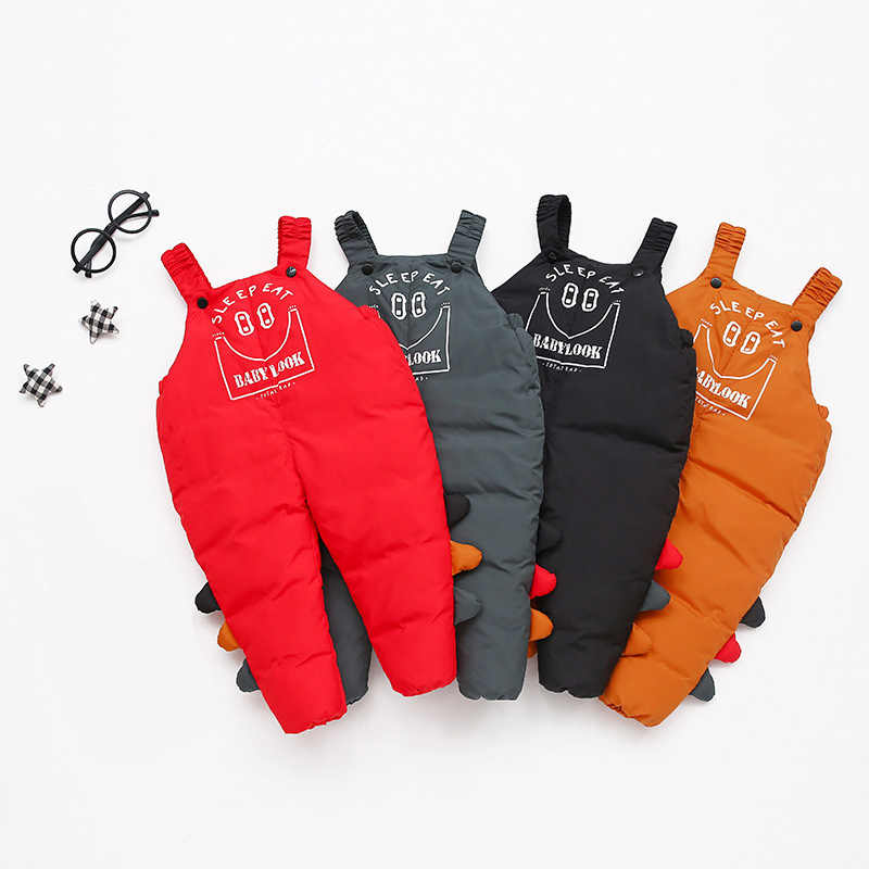 Autumn winter children's overalls for boys 1-5 years Kids jumosuits warm pants cute cartoon style baby girls overalls