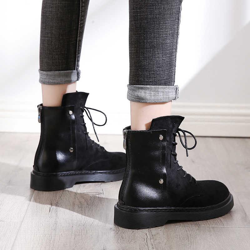 Fujin Ботильоны на молнии с пряжкой; высококачественные дышащие женские ботинки с высоким берцем; женские кроссовки; сезон осень-весна; ботинки на платформе
