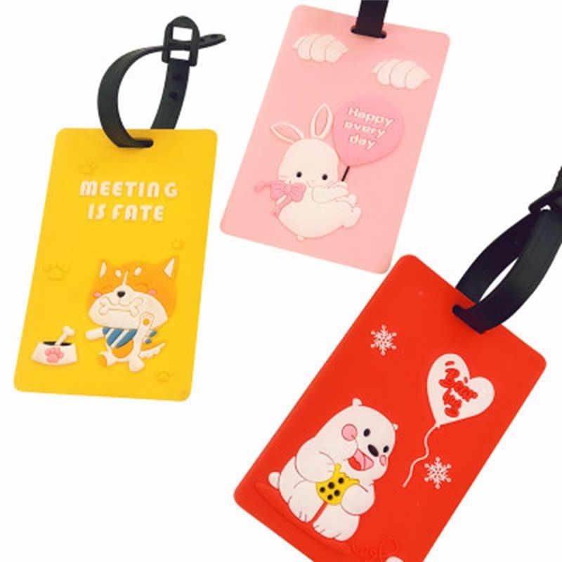 Mode Animal étiquette à bagage femmes accessoires de voyage Gel de silice valise ID adresse titulaire étiquette d'embarquement de bagages étiquette