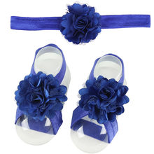 1pair Infant Pearl Chiffon Barefoot Toddler Foot Flower Beach Sandals Haarband baby headband Accessories Opaski Dla Niemowlaka(China)