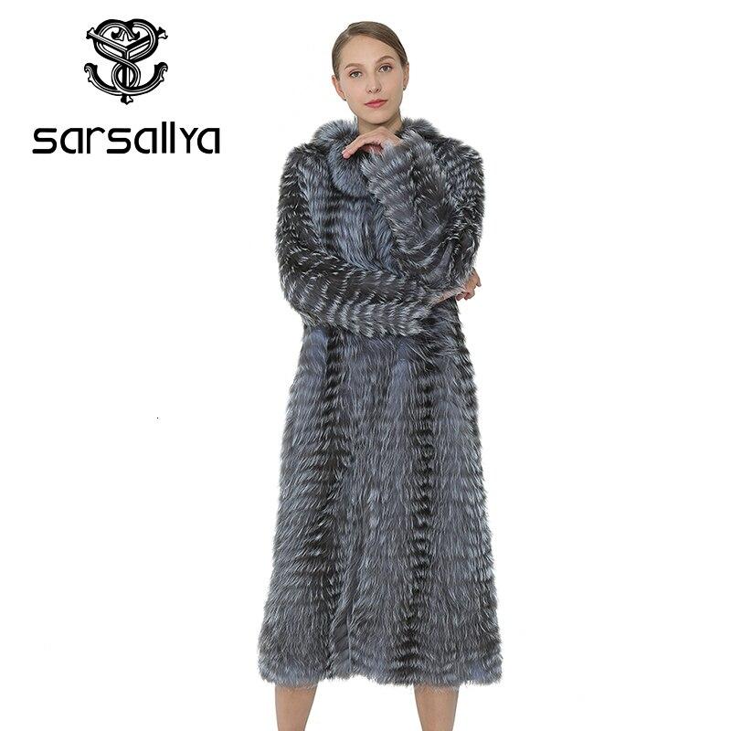 SARSALLYA Lungo Genuino della Pelliccia di Fox del Cappotto di Inverno del Cappotto Reale Silver Fox Delle Donne Della Maglia Abbigliamento Cappotto di Visone Naturale Pelliccia di Volpe Gilet di Donne