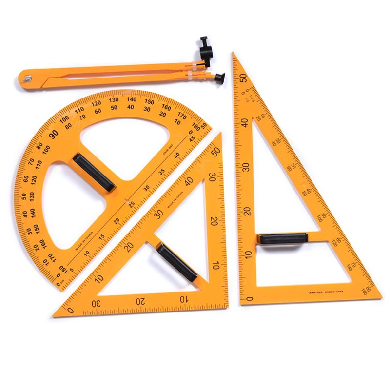 Multifunction Teaching Ruler Set Triangle Compasses Protractor Measurement Ruler