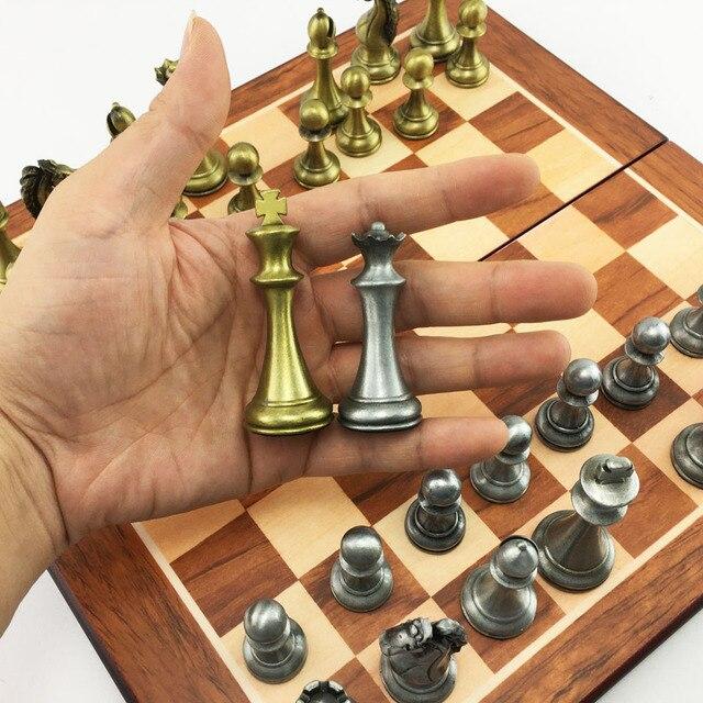 Ensemble d'échecs en métal, plateau pliant en bois, hauteur roi 67mm 5