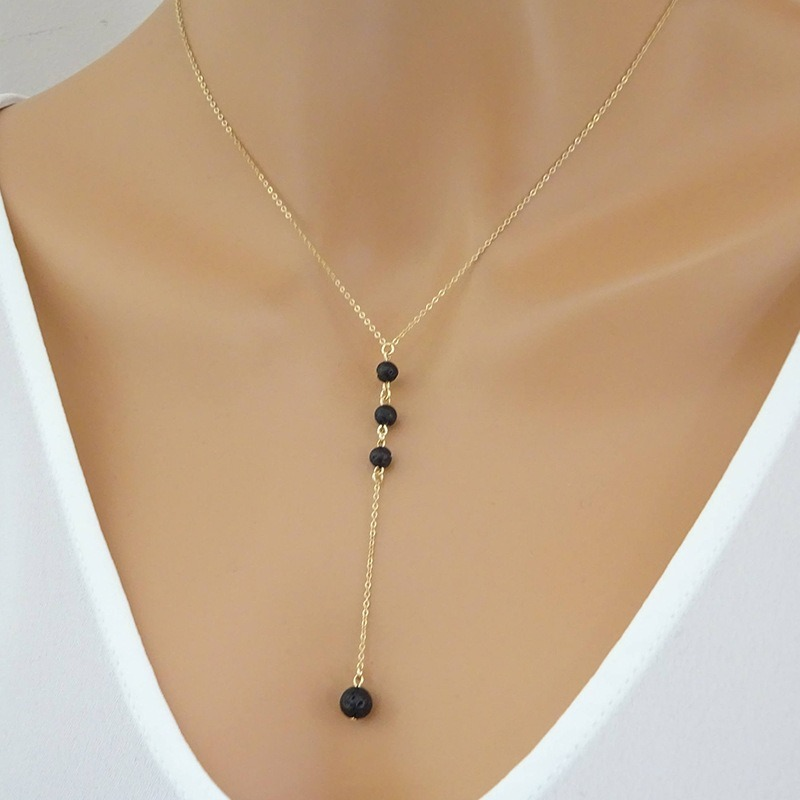 LISMLISM Women Necklaces Jewelry Long Necklace Chain Black Beads Tassel Lady Silver Color TRENDY Trendy Collares Collier