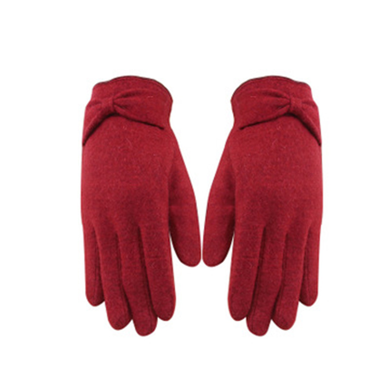 Winter Touch Screen Mittens Women Warm Cashmere Daisy Embroidery Wool Knit Gloves Female Bow Wrist Thick Driving Mittens E94