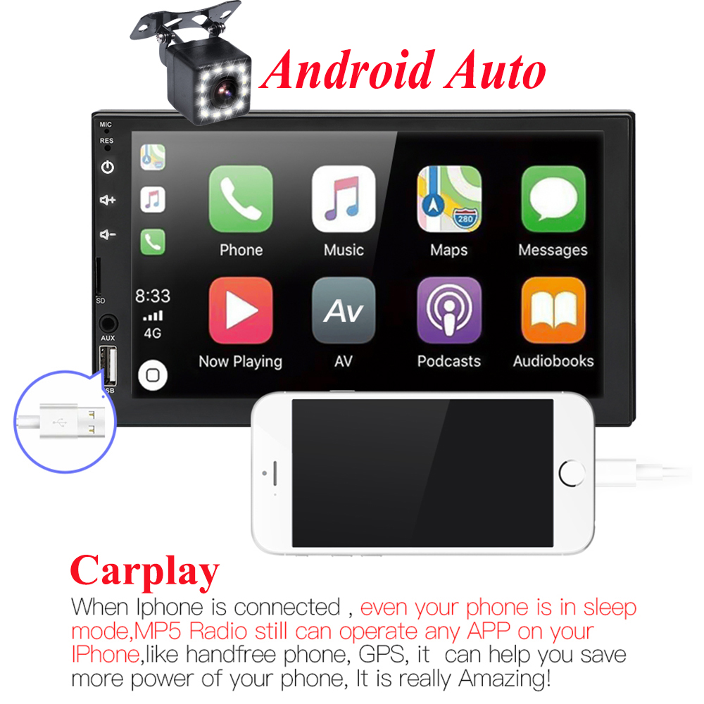 2 din car radio 7 HD Touch Screen Player Android Auto Carplay Multimedia MP5 FM/USB/AUX/Bluetooth Car Audio For Rear Camera image