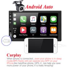 2 din radio samochodowe 7 HD Touch odtwarzacz z ekranem Android Auto Carplay Multimedia MP5 FM USB AUX Bluetooth samochodowy sprzęt audio do tylnej kamery tanie tanio THREECAR 45W*4 carplay Car Radio 2 din 670g W desce rozdzielczej Aluminum+plastic Tuner radiowy Angielski 87 5MHz -108MHz