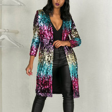 Women Sequins Cardigan Perspective Spring Autumn Cover Up Long Sleeve Metallic Open Front Coat Elegant Thin