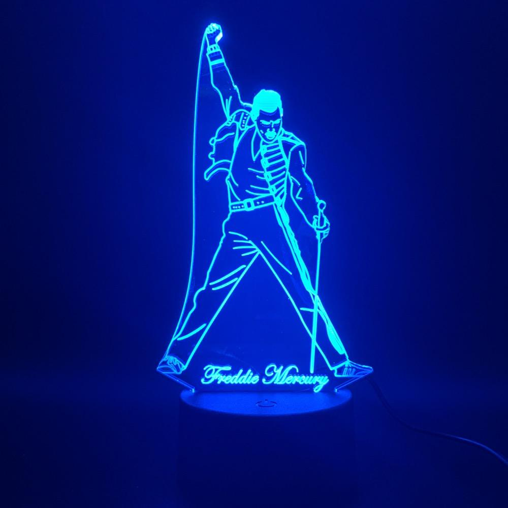Queen Band 3d Led Night Light Lamp British Singer Freddie Mercury Figure Nightlight For Home Decoration Best Fans Gift Dropship