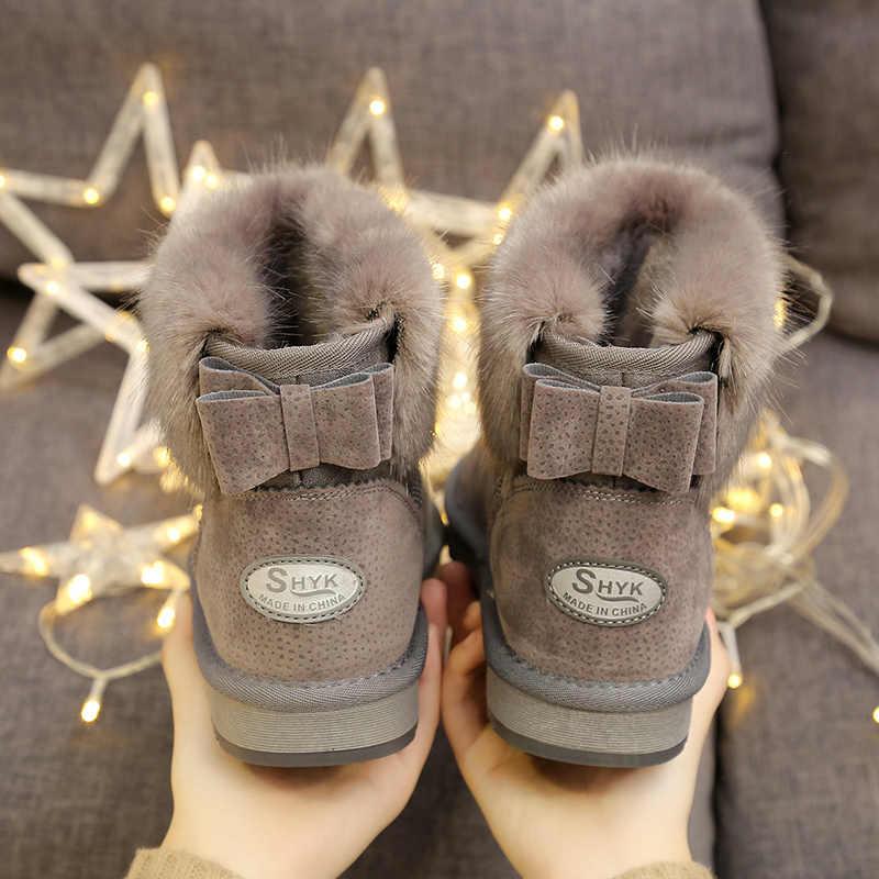 Ủng Giả Cáo Lông Thú Sang Trọng Giày Người Phụ Nữ Nữ Chống Trơn Trượt Màu Xám Nâu Đỏ Nữ Mắt Cá Chân Giày Mùa Đông Ấm Áp da PU Chống Thấm Nước