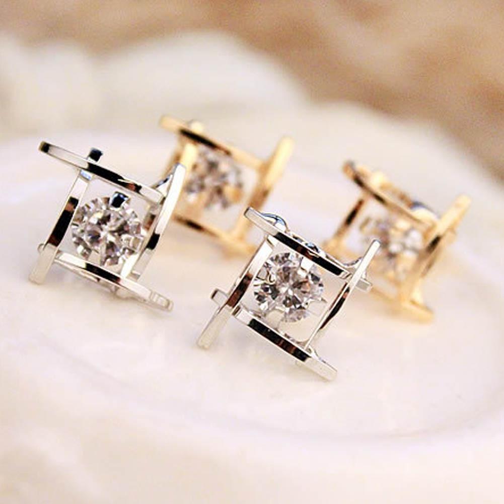 New hOT Sale Geometric Hollow Out Stud Earrings CZ Zircon Square Stud Earrings For Women brincos Fashion Jewelry