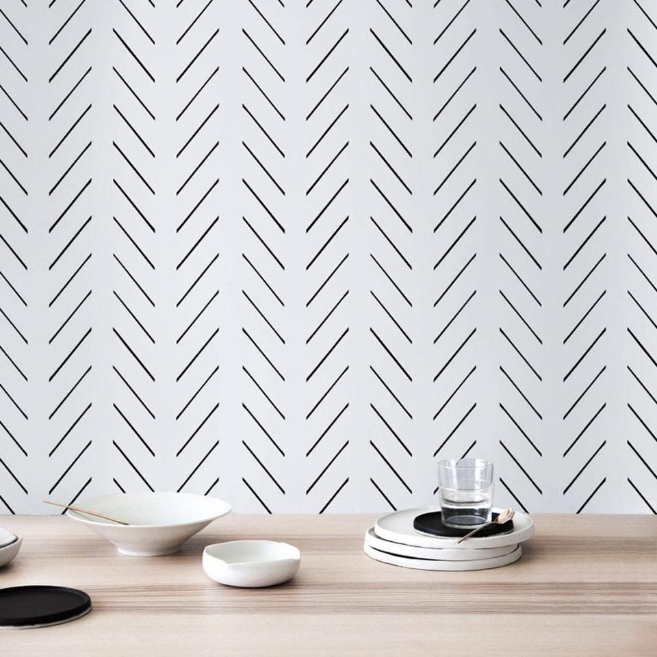 Modern Delicate Herringbone Wallpaper In Black And White Scandinavian Design Removable Wallpaper Pw200606011 Papel De Pared Papel De3d Papel Aliexpress