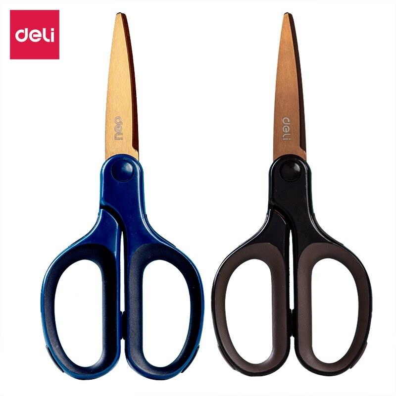 Deli 175mm Titanium Plated Stainless Steel Scissors Soft Rubberized Handle Hand Scissors Color Random 6053