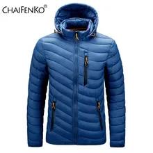 CHAIFENKO 브랜드 겨울 따뜻한 방수 자켓 남자 2021 새로운 가을 두꺼운 후드 파커 남성 패션 캐주얼 슬림 자켓 코트 남자