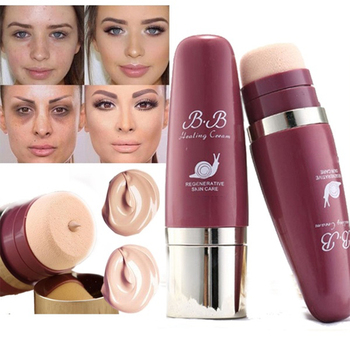 2 Colors Oil-Control Base BB Face Foundation Cream Concealer Stick Sponge Head Face Full Coverage Snail Cream Makeup Foundation