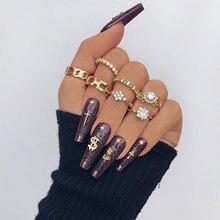 Docona 7 шт/компл модные золотые набор колец с кристаллами для
