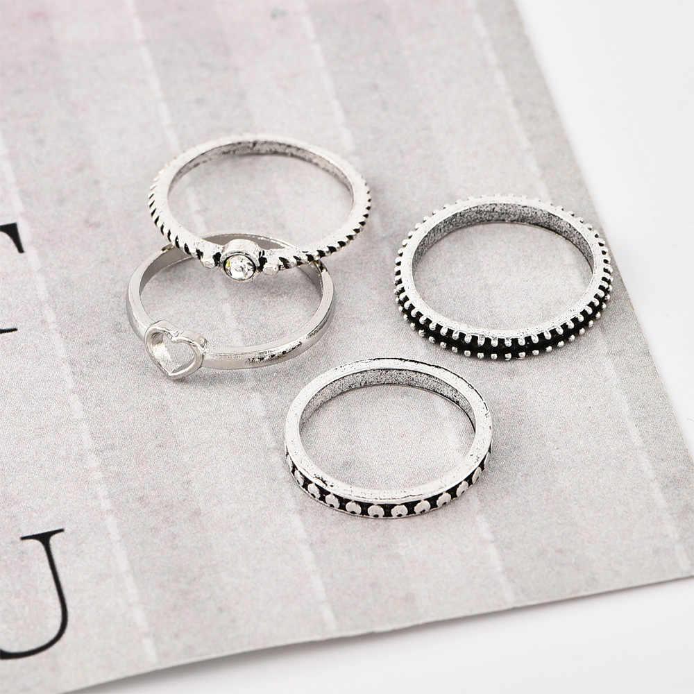 חדש טבעת אופנה עתיק כסף טבעות לב טבעת שילוב פשוט תכשיטי טבעות נשים טבעת סט סיטונאי