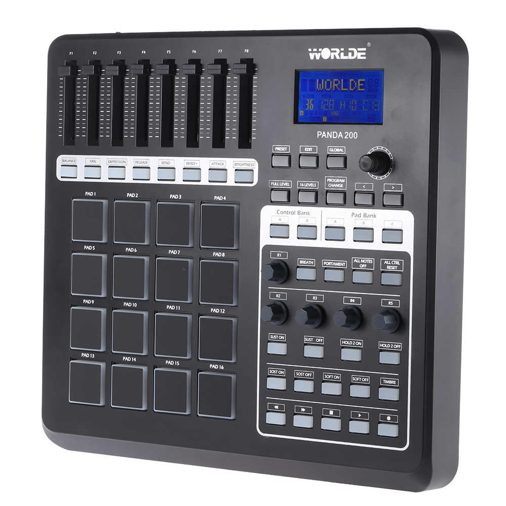 WORLDE PANDA200 Portatile USB MIDI Controller del Pad 16 Drum Pad con Cavo USB della Tastiera Midi