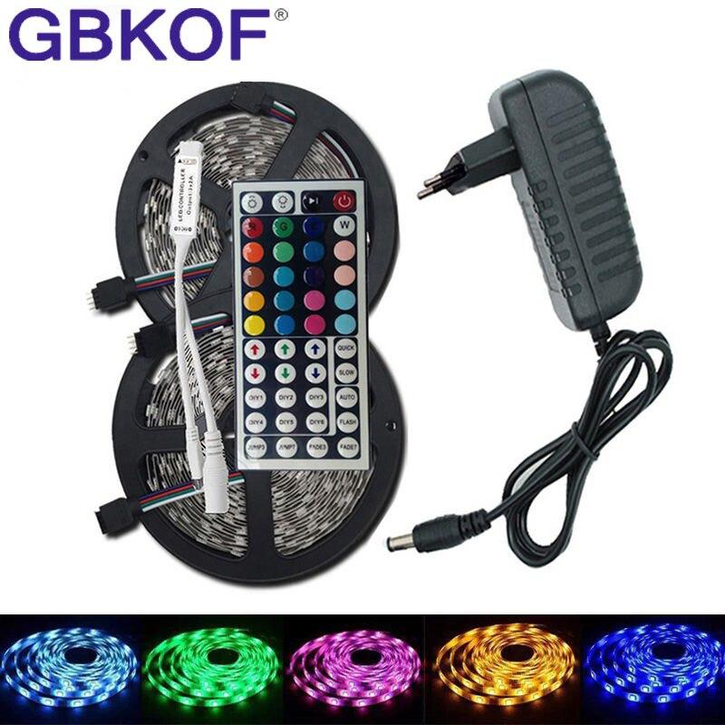 GBKOF SMD RGB LED Strip Light 5050 2835 10M 5M LED Light RGB Leds Tape Diode Ribbon Flexible Controller DC 12V Adapter Set