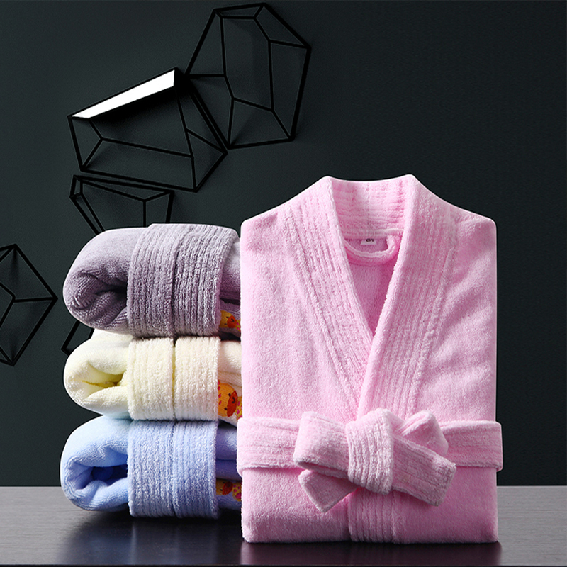 100% Cotton Toweling Terry Robe Kids Cartoon Robe Boy&Girls Hooded Robe Winter Warm Bathrobe Soft Sleeprobe Kids Casual Homewear