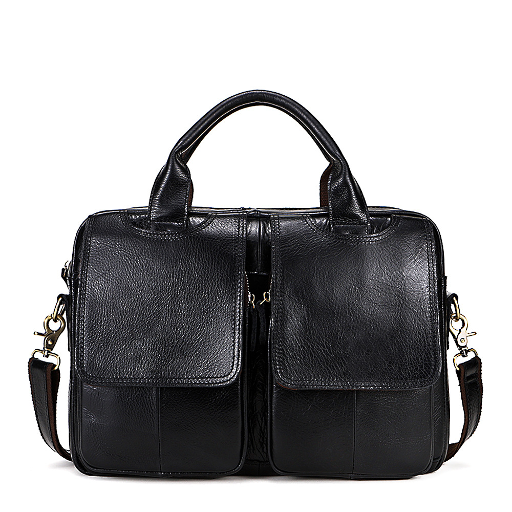 Business Handbag Tote Laptop-Shoulder-Bag Briefcase Computer 14inch Genuine-Leather Male