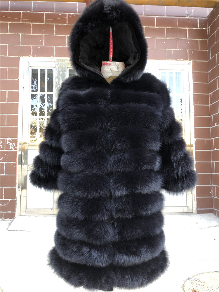 100% Natural Real Fox Fur Coat Women Winter Genuine Vest Waistcoat Thick Warm Long Jacket With Sleeve Outwear Overcoat plus size 91