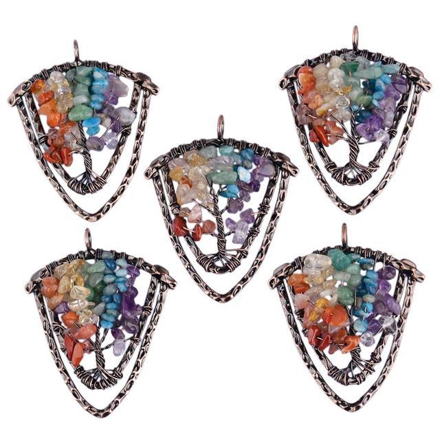 Фото tumbeelluwa древо жизни 7 чакра кристальное ожерелье с подвеской