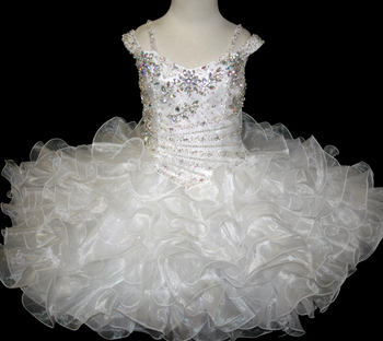Beautiful White Kids Cupcake Dress Organza with Crystal Scoop Neck Lovely Girls Pageant Gowns white cheap flower girls dresses scoop neck girls pageant dresses organza beads kids party gowns 2019