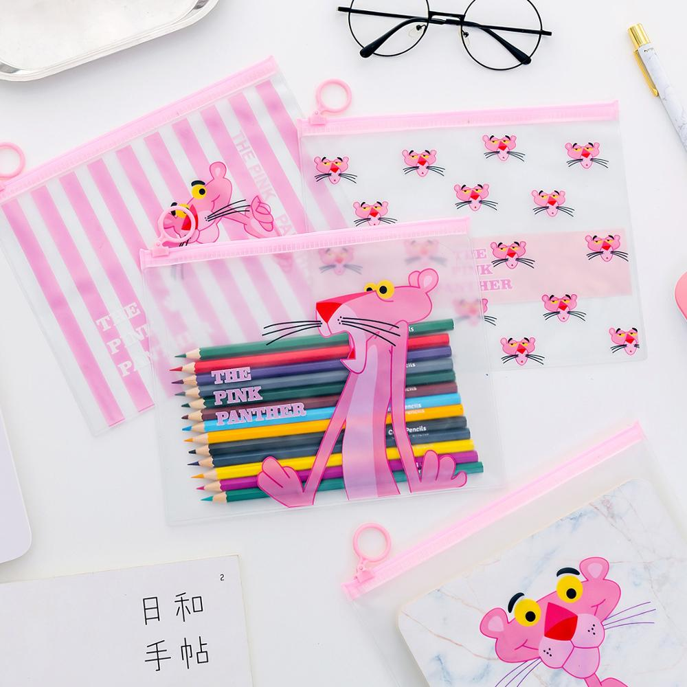 Kawaii Pink Panther Pencil Cases File Holder Cute Transparent Pencil Bags Box Pen Case For Boys Girls Stationery School Supplies