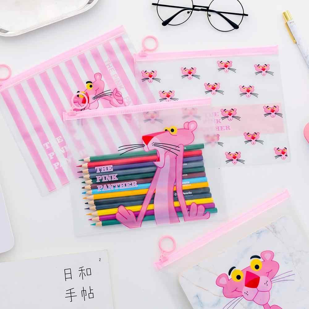Kawaii różowa pantera piórniki posiadacz pliku śliczne przezroczysty ołówek torby Box piórnik dla chłopców dziewcząt papiernicze artykuły szkolne