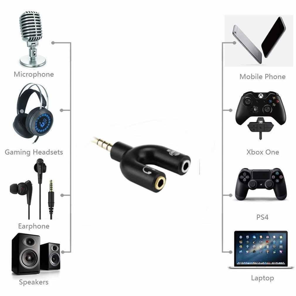 3.5mm Splitter Wtyczka Stereo w kształcie litery U Stereo Audio Mic i słuchawek Splitter do słuchawek adaptery do PS4 PC Laptop zestaw słuchawkowy