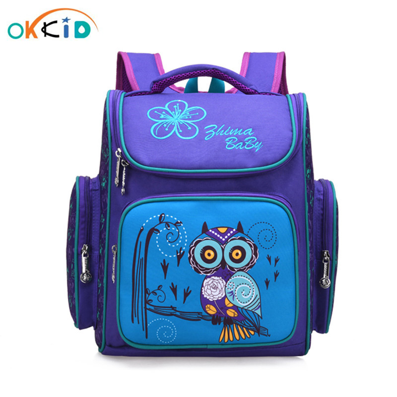 OKKID Children School Bags Russia Style Elementary School Backpack For Girls Flower Book Bag Animal Print Schoolbag Kids Gift
