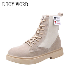 E TOY WORD Women Martin boots England wind autumn 2019 new women shoes retro flat ankle thick sole canvas motorcycle