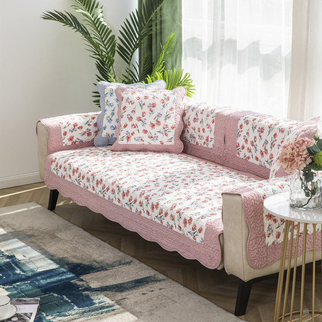 Фото korean style printed sofa cover four seasons pastoral cotton цена