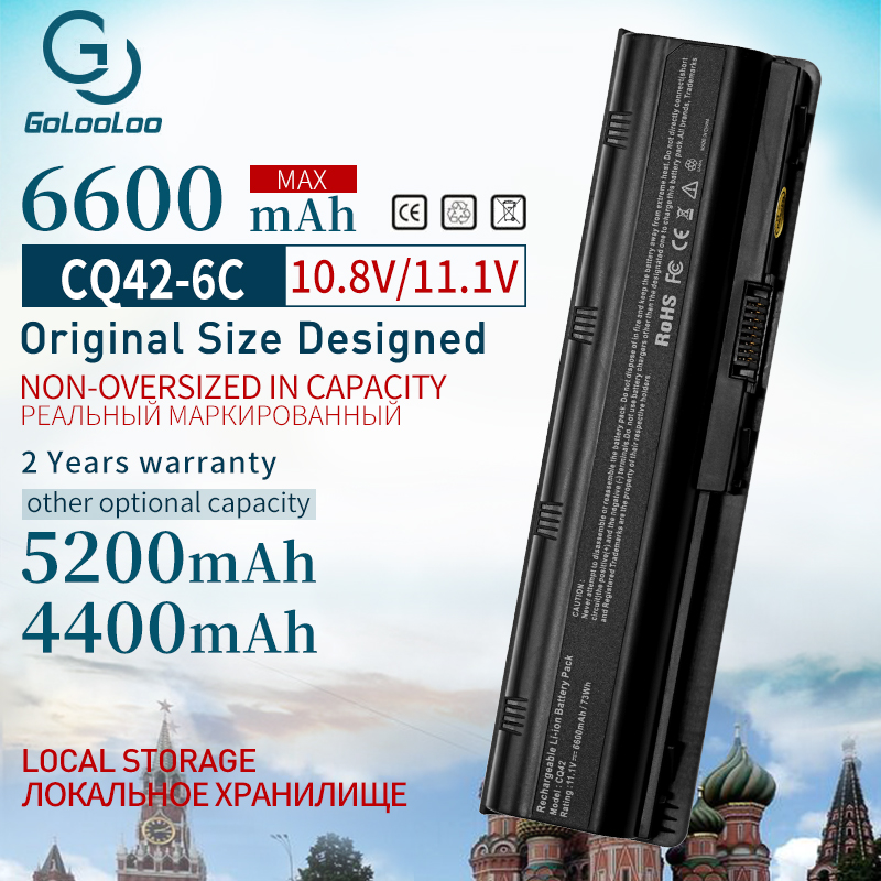 6 cells 6600mAh mu06 New Laptop battery for HP Pavilion Notebook PC 593553-001 g4 G6 G32 cq42 593562-001 dv4 dv6 MU09 HSTNN-LB0W image