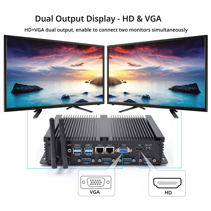 Eglobal robuste Dual NIC industrielle mini-computer intel core i5 3317U celeron 1037U windows XP/7/8/10 4 * COM ports HDMI VGA HTPC