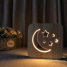 pine Carved hollow artwork LED night light moon starry sky romantic desk lamp bedroom table for Birthday xmas gift