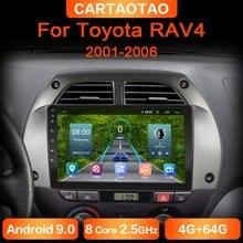 Автомобильный DVD-плеер, проигрыватель на Android 9,0, 4 Гб ОЗУ, 64 Гб ПЗУ, с GPS, Wi-Fi, RDS, IPS, для Toyota RAV4, 20012002-2006, типоразмер 2DIN
