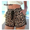 Leopard Lace Up High Waist Cotton  Beach Shorts 1