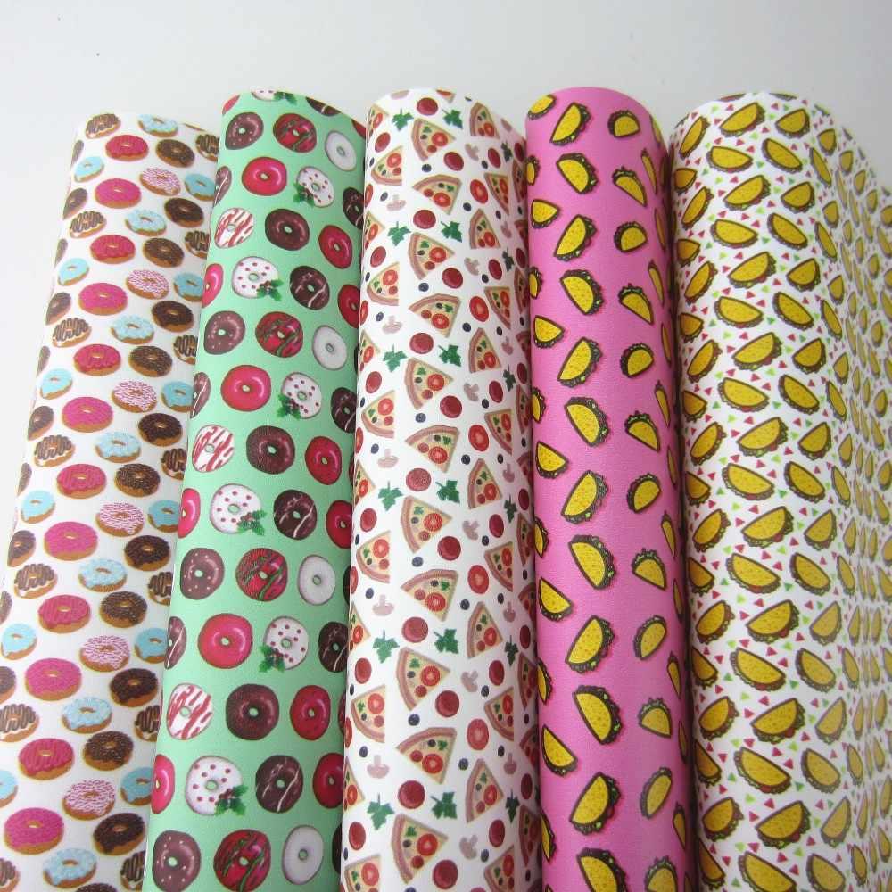 """Impresso natal donuts pizza cupcakes falso tecido de couro donut festivo para diy arcos acessórios a4 folha 8 """"x 11"""" pr009"""