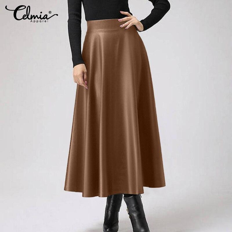 Юбка миди Celmia женская из экокожи, Элегантная модная офисная вечерние няя однотонная офисная юбка с завышенной талией, 5XL 7, весна 2021