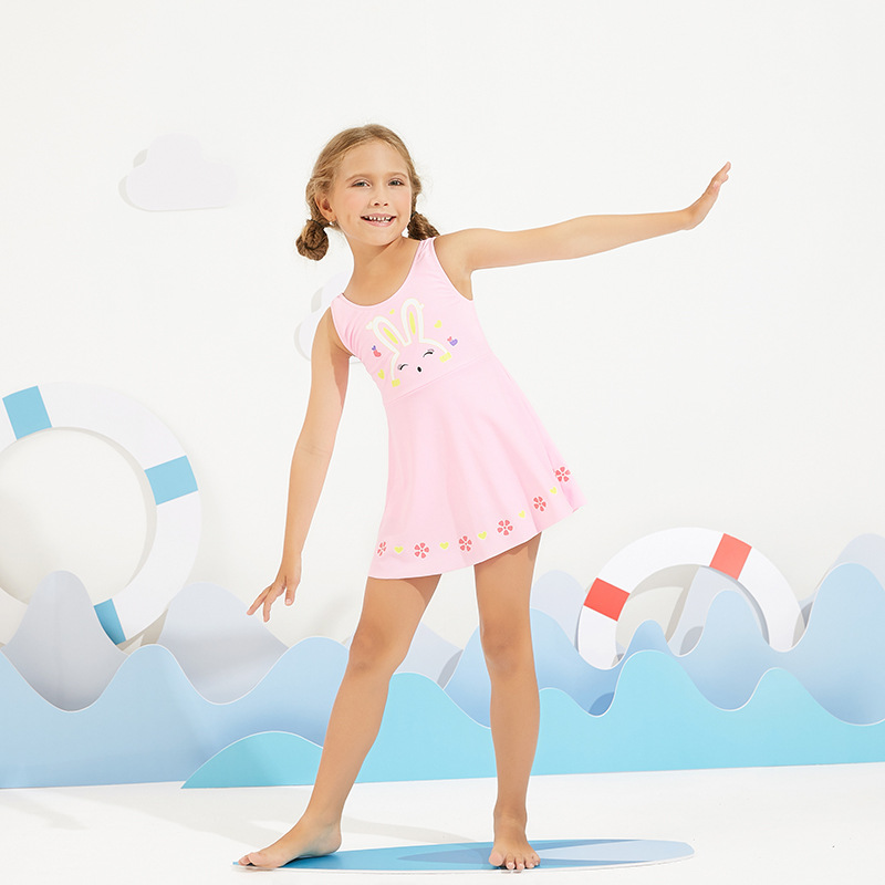 2019 New Style Miss Sunshine Cartoon Rabbit Flower KID'S Swimwear Fashion Small CHILDREN'S Swimwear Beach Bathing Suit