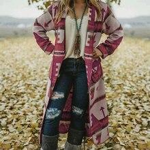 MoneRffi, новинка, женский свитер, длинный рукав, с принтом, кардиган, открытый перед, трикотажное пальто, Blusas Femininas Sueter Mujer, пальто, топы