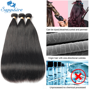 Image 4 - Sapphire Straight Hair Frontal With Bundles Human Hair Bundles With Frontal Brazilian Hair Weave Bundles With Closure Frontal